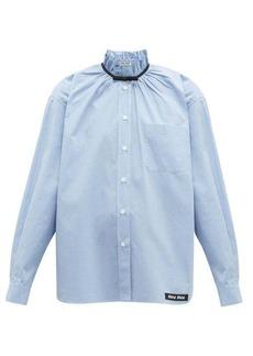 Miu Miu Gathered gingham cotton shirt