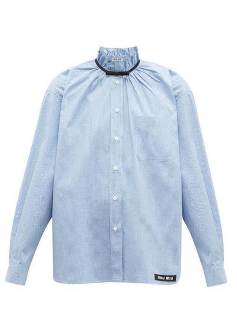 Miu Miu Gathered gingham cotton shirt
