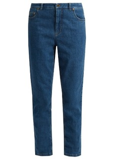 Miu Miu Gingham-tie mid-rise slim-leg jeans