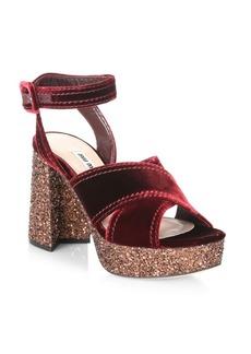Miu Miu Glitter & Velvet Platform Ankle-Strap Sandals