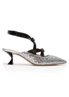 Miu Miu Glitter and bow-embellished point-toe mules