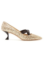 Miu Miu Glitter and bow-embellished point-toe pumps