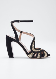 Miu Miu Glitter and Suede Sandals