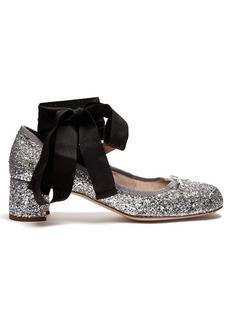 Miu Miu Glitter block-heel ballet pumps