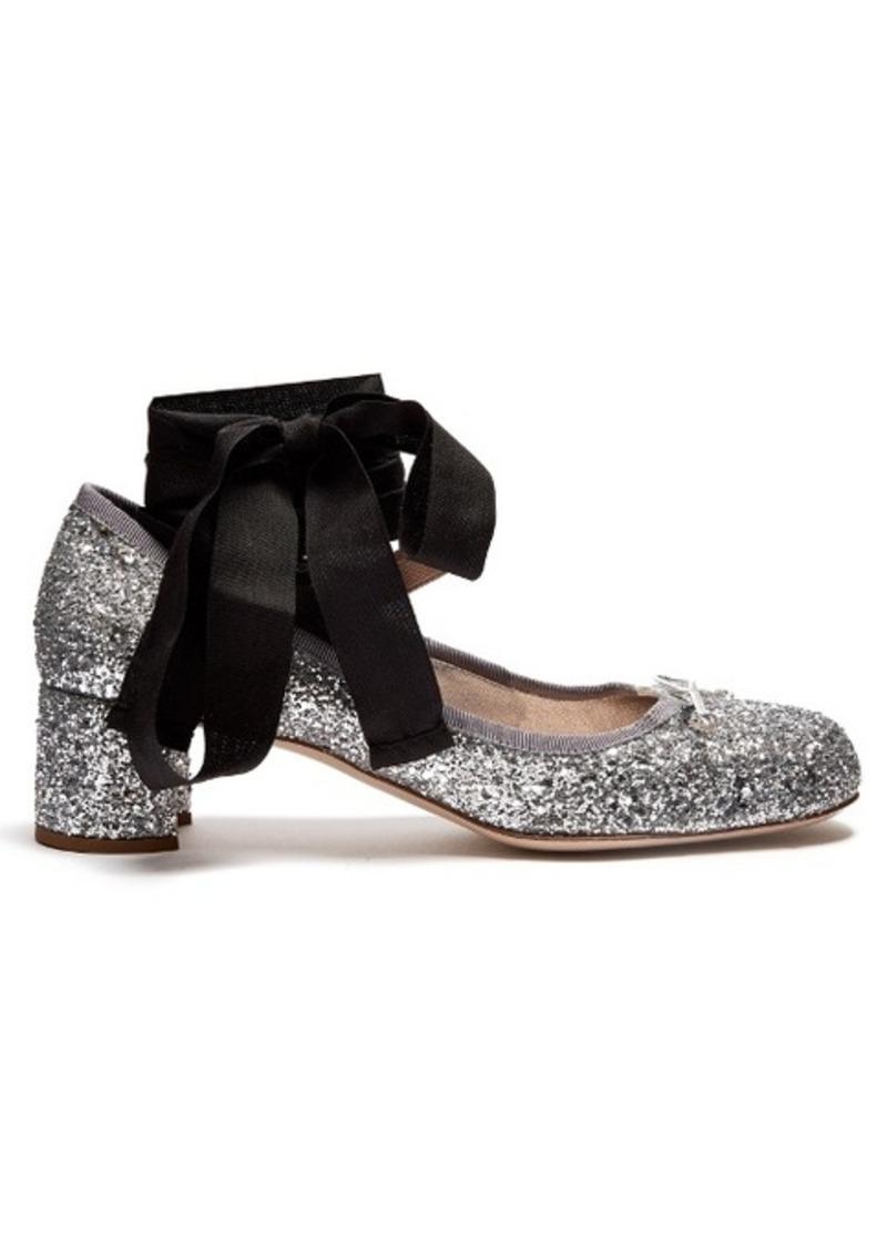 68e50cacdfd Miu Miu Miu Miu Glitter block-heel ballet pumps Now  195.00