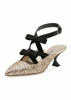 Glitter Bow Ankle-Wrap 55mm Mule