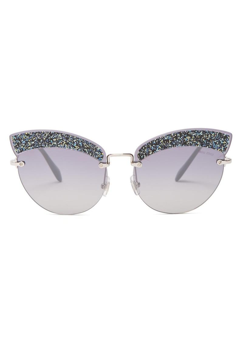c8842a750 Miu Miu Miu Miu Glitter-embellished cat-eye sunglasses   Sunglasses