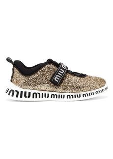 Miu Miu Glitter-embellished neoprene trainers