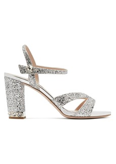 Miu Miu Glitter-embellished open-toe leather sandals
