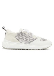 Miu Miu Glitter-embellished suede and mesh trainers