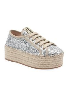 Miu Miu Glitter Flatform Sneaker Espadrilles