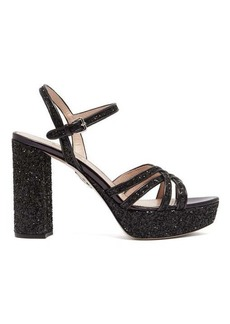 Miu Miu Glitter leather platform sandals