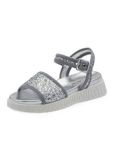Miu Miu Glitter Logo-Sole Sport Sandals