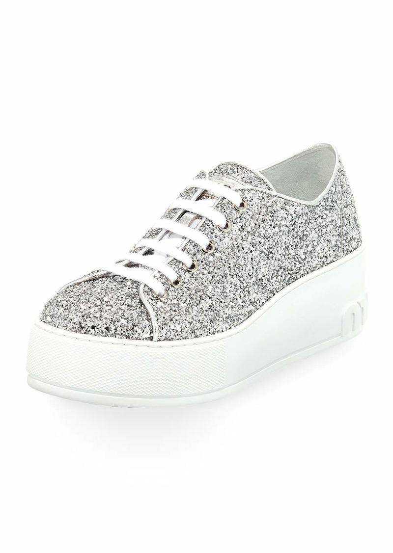1b43b8f9bf0e Miu Miu Glitter Platform 55mm Sneakers Silver   Shoes