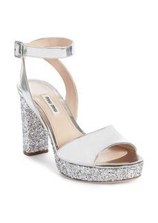 Miu Miu Glitter Platform Sandal (Women)