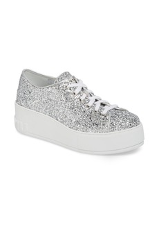 Miu Miu Glitter Platform Sneaker (Women)