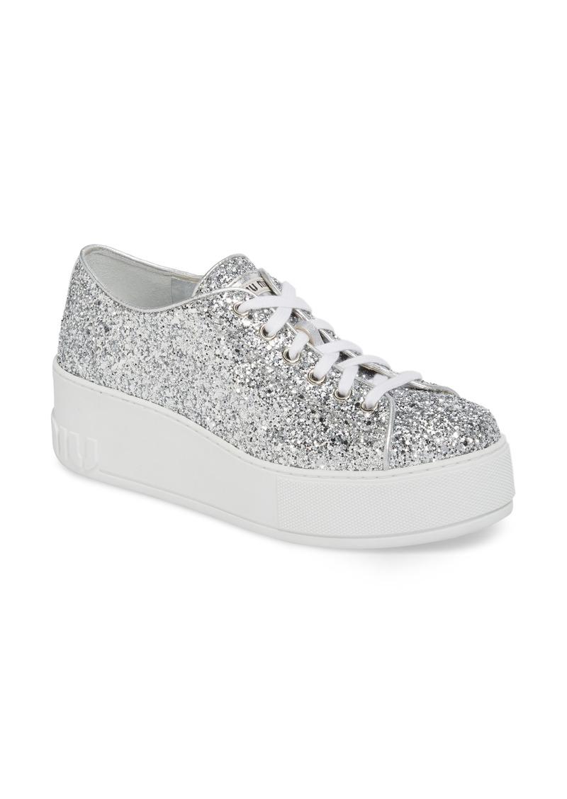 9bc39d44253 Miu Miu Miu Miu Glitter Platform Sneaker (Women)