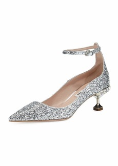 Miu Miu Glitter Pointed Ankle-Strap Pumps
