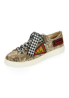 Miu Miu Glitter Sneaker with Patches