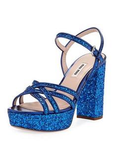 Miu Miu Glitter Strappy Platform Sandals