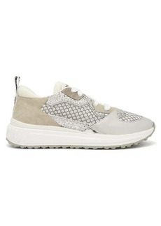 Miu Miu Glitter, suede and mesh low-top trainers