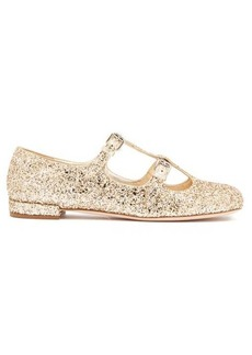 Miu Miu Glittered Mary-Jane leather flats