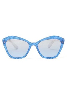 Miu Miu Glittered square cat-eye acetate sunglasses
