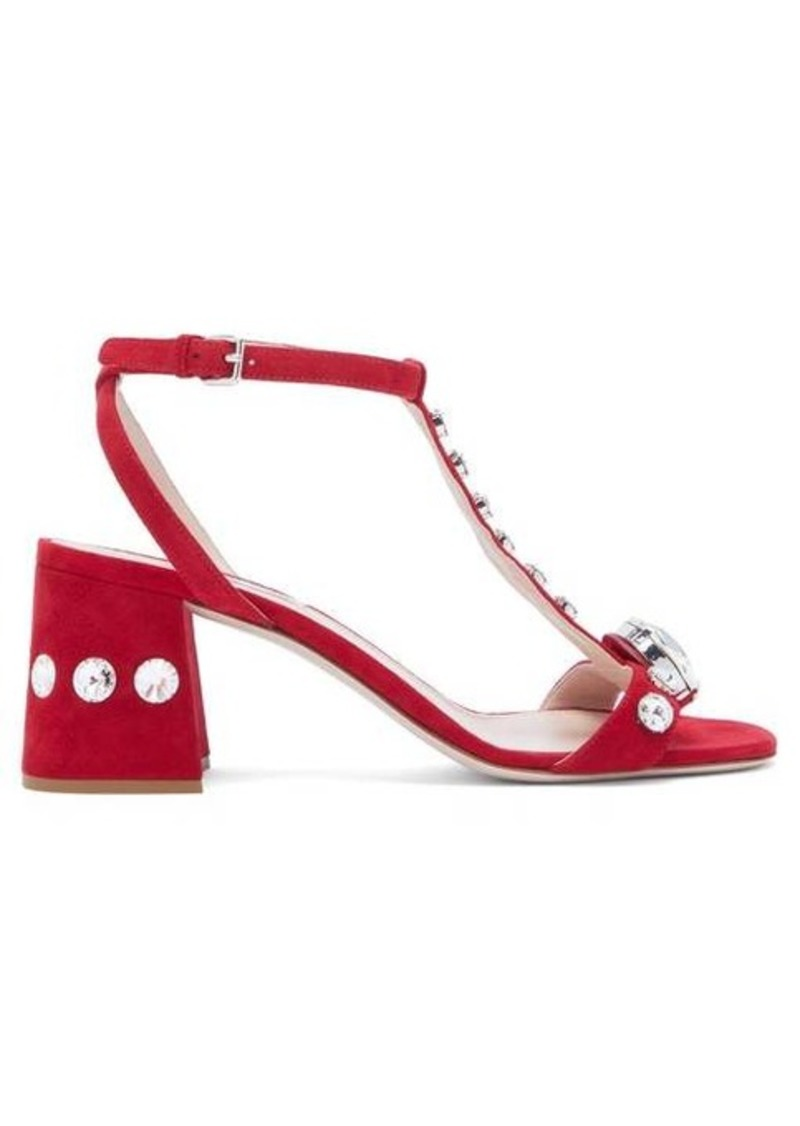 Miu Miu Gobstopper crystal-embellished suede sandals
