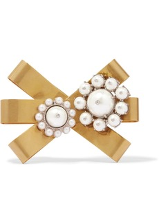 Miu Miu Gold-plated, silver-tone and faux pearl brooch