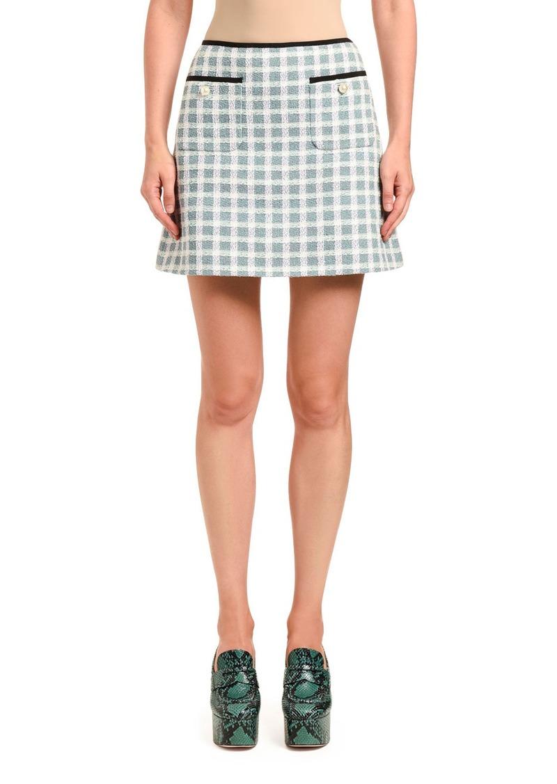 Miu Miu Gonne Tweed Plaid Mini Skirt w/ Patch Pockets