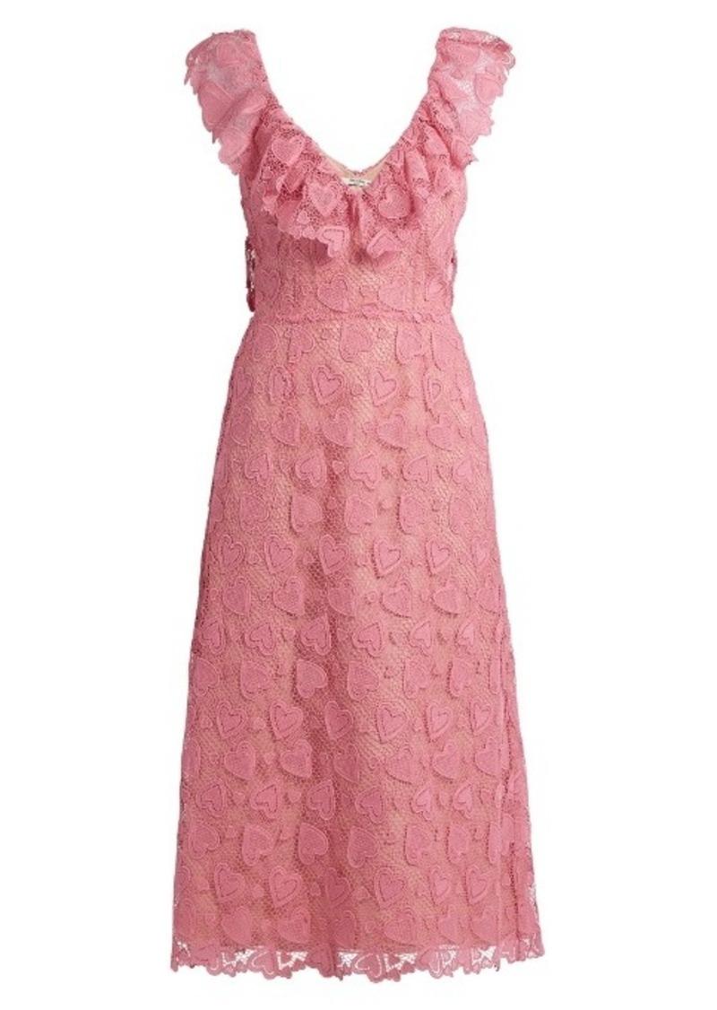 Miu Miu Heart-macramé lace midi dress