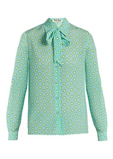Miu Miu Heart-print tie-neck silk blouse