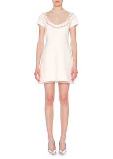 Miu Miu High-Neck Cap-Sleeve A-Line Cady Dress w/ Lace Trim