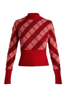 Miu Miu High-neck checked mohair-blend sweater