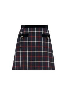 Miu Miu High-rise velvet & checked twill mini skirt