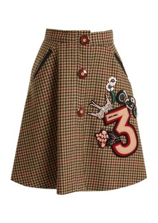 Miu Miu Hound's-tooth embellished-appliqué wool skirt