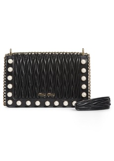 Miu Miu Imitation Pearl & Matelassé Leather Crossbody Bag