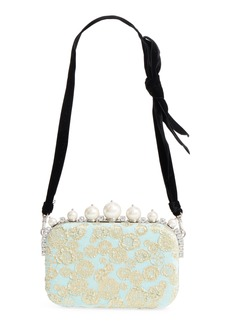 Miu Miu Imitation Pearl & Metallic Brocade Shoulder Bag