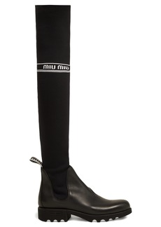 Miu Miu Jersey-knit knee-high sock boots