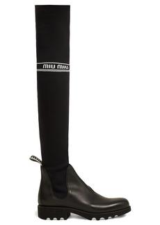 Miu Miu Jersey-knit knee-high sock boots