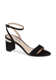 Miu Miu Jewel Heel Embellished Sandal (Women)