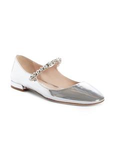 Miu Miu Jewel Star Embellished Mary Jane Flat (Women)