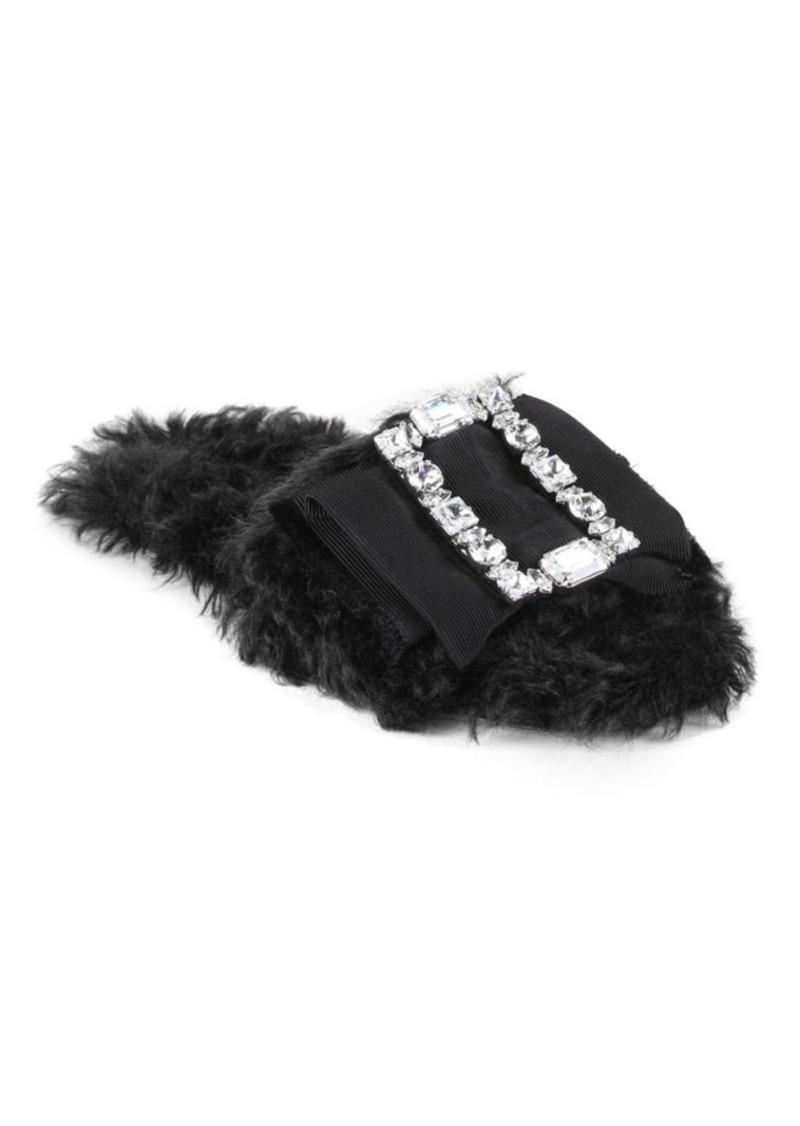 Miu Miu Jeweled Eco Fur Slides