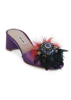 Miu Miu Jeweled Feather & Satin Block Heel Slides