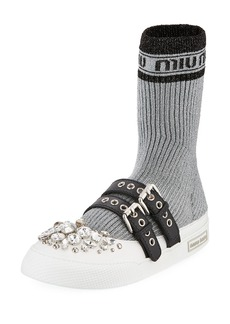 Miu Miu Jeweled Flat Sock Sneaker Boot