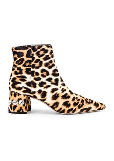 Miu Miu Jeweled Fur Ankle Boots