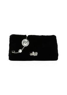 Miu Miu Jeweled Fur Chain Clutch Bag