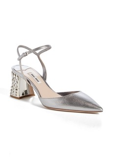Miu Miu Jeweled Heel Ankle Strap Pump (Women)