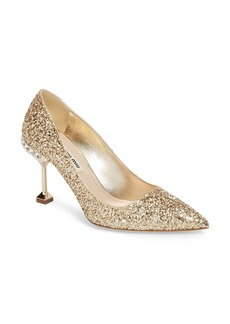Miu Miu Jeweled Heel Glitter Pump (Women)