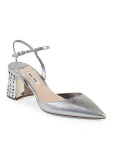 Miu Miu Jeweled Heel Metallic Leather Pumps